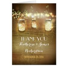 Thank You Lights Mason Jars Rustic Cards