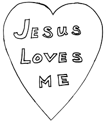 Jesus Loves Me Heart Coloring Page