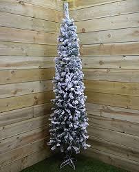 Christmas Tree Flocking Spray Uk by 2m 6 5ft Snow Flocked Spruce Pine Slim Christmas Tree In Green