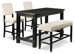 Jackson 4-Piece Pub-Height Dinette Set - Dark Grey And Cream