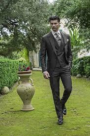 Dark Grey Vintage Men Suits Peaked Lapel Wedding For Tuxedos