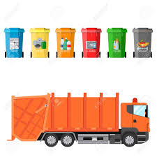 Different Colored Recycle Waste Bins And Garbage Truck Vector ...