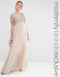 maya maternity v neck maxi tulle dress with tonal delicate sequins
