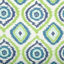 Navy Geometric Pattern Curtains by Peacock Blue Ikat Upholstery Fabric Modern Embroidered