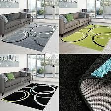 teppich modern design wohnzimmer moda kreis grün grau schwarz creme öko tex