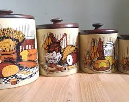 Vintage Kitchen Canisters 4 Food Groups Fall Autumn Kitsch Decor Ransburg
