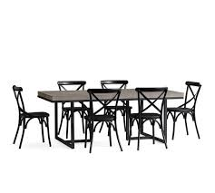 Sloan Concrete Dining Table X Back Black Chair Set