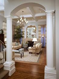 Modern Living Room Design With Round Columns Painted White