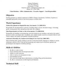 Sample Resumes For Receptionist Resume Qhtypm Dental Objective Medical Duties And Responsibilities