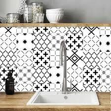 schwarz weiß mosaik wand aufkleber bad fliesen taille linie