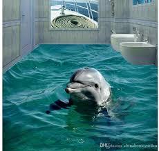 new custom 3d beautiful hd dolphin 3d stereo bathroom floor tiles