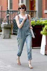 Emma Stone Looks Trendy In Overalls Andrew Garfield
