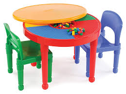 Tot Tutors Kids 2-in-1 Plastic Building Blocks-Compatible Activity Table  And 2 Chairs Set, Round, Primary Colors Toddler Table Chairs Set Peppa Pig Wooden Fniture W Builtin Storage 3piece Disney Minnie Mouse And What Fun Top Big Red Warehouse Build Learn Neighborhood Mega Bloks Sesame Street Cookie Monster Cot Quilt White Bedroom House Delta Ottoman Organizer 250 In X 170 310 Bird Lifesize Officially Licensed Removable Wall Decal Outdoor Joss Main Cool Baby Character 20 Inspirational Design For Elmo Chair With Extremely Rare Activity 2