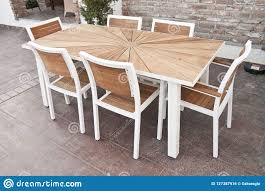 Metal And Wood Outdoor Patio Furniture For Dining Stock ...