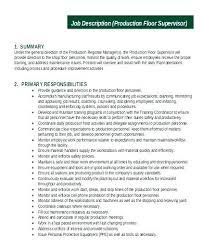 Sample Job Description Template Production Supervisor Cashier Resume Regional Manager Retail Sales
