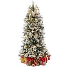 Best Christmas Tree Type Uk by 7ft Slim Flocked Spruce Pre Lit Christmas Tree Amazon Co Uk