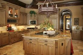 Rustic Style Kitchen With Light Brown Granite Countertop Unfinished Oak Wood Big Cabinets And