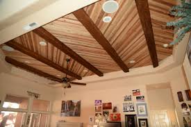 100 Wood On Ceilings Accenting A Plank Ceiling With Beams Faux Workshop