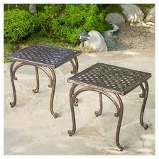 Cast Aluminum Outdoor Sets by Mckinley Set Of 2 Cast Aluminum Patio End Tables Copper