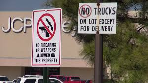100 Truck Pro Fort Smith Ar Central Mall Reinforces Firearm Weapon Policy With Outdoor Signs