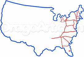 How To Draw The United States Step 2
