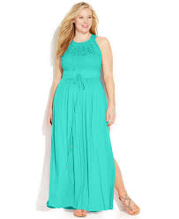 calvin klein size lace halter maxi dress in blue lyst