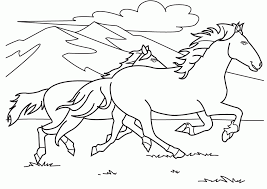 Horses Running Race Coloring Pages