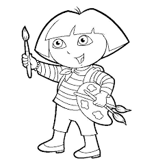 Dora Backpack Drawing Coloring Page 1