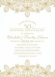 Golden Lace 50th Wedding Anniversary Invitations