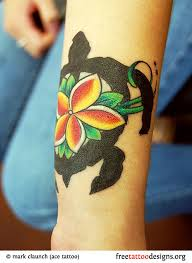 Hawaiian Turtle Tattoo On A Girls Arm