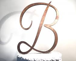 Wooden Wedding Cake Topper Letter B Monogram Rustic Handmade