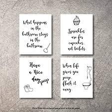 lustiges badezimmer wandkunst zitate sprüche kunstdrucke set mit vier fotos ungerahmt