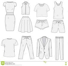 Mens And Womens Clothing Set Sketch Clothes Hand Drawing Doodle Style