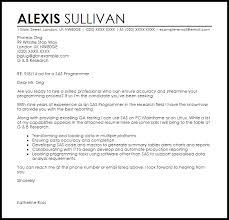 SAS Programmer Cover Letter Sample