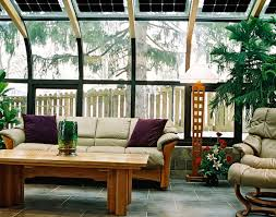 SunroomAwesome Sunroom Design With Curved Frame Glass Window And Modern Furniture Rustic