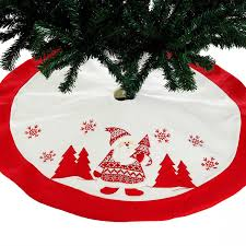 36inch 90cm High Quality Embroidered Christmas Tree Skirt Santa Claus Red White For Patry Home Hotel Decor Xmas Decorations Decoration
