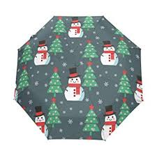 Auto Open Close Umbrella Christmas Tree Snowman Windproof Compact Folding Travel Umbrellas