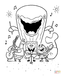 Click The Spongebob And His Friends Are Singing Playing Music Instruments A Whale Behind Them Plays Drums Coloring Pages