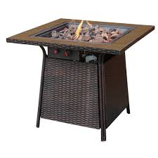uniflame bronze faux wicker 32 in propane gas pit with
