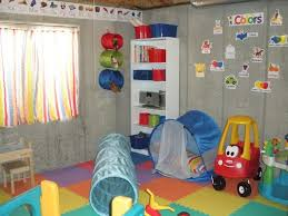 Makeshift playroom in an unfinished basement