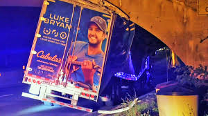 Country Star Luke Bryan's Equipment Truck Smashed In Overpass ...