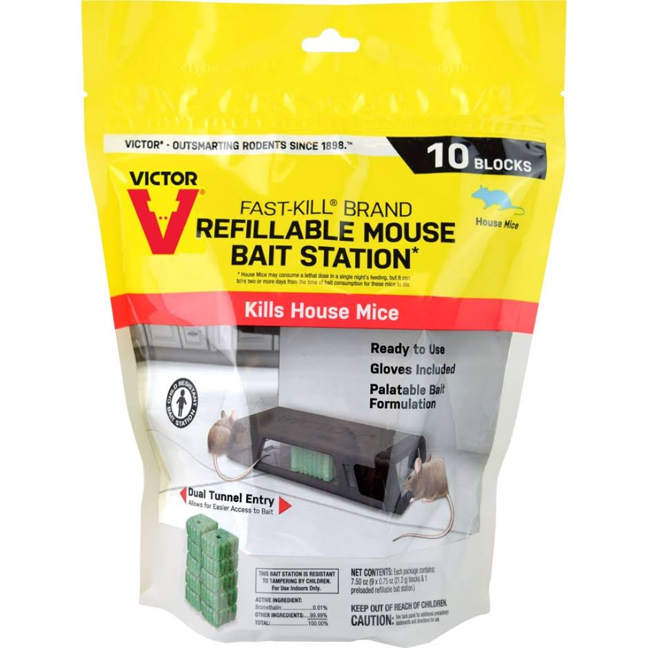 Victor M922 Fast-Kill Refillable Mouse Bait Station, 10 Blocks