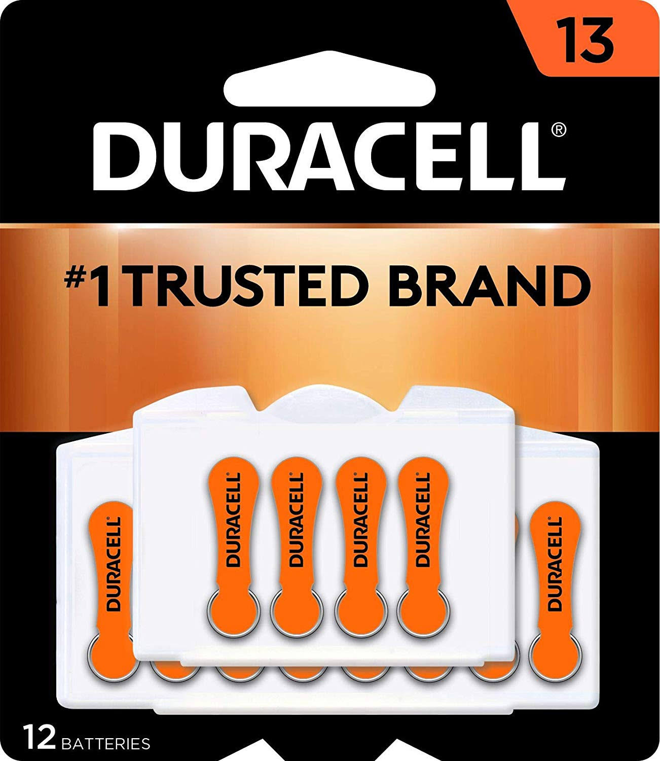 Duracell Easy Tab Hearing Aid Batteries - Size 13, 12pcs