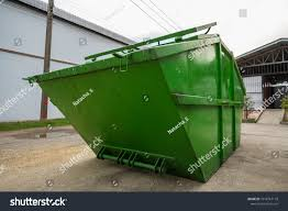 Big Green Dumpster Garbage Truck On Stock Photo (Edit Now ...