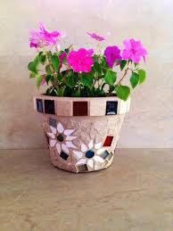 Mosaic Planter Flower Pot Outdoor Indoor Plant Storage Rustic