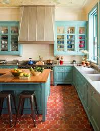 Painting Your Cabinets A Fun Shade Of Teal Might Feel Like Big Risk Beach Color SchemesSpanish Kitchen DecorKitchen