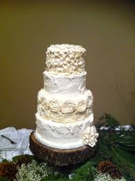 Rustic Wedding Cake With Piped Roses Rough Texture Hydrangea Flowers