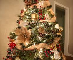 Rustic Christmas Tree Reds Gold And Burlap