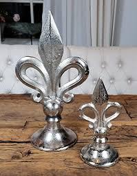 michaelnoll lilien französische lilie aluminium silber deko modern wohnzimmer xl statue luxus 2er set 40 cm