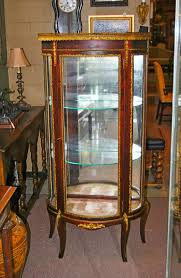 Antique French Style Mahogany Curved Curio Cabinet with Brass